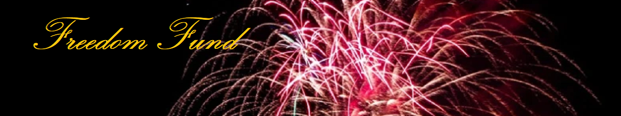 The words Freedom Fund on a background of pink and red fireworks